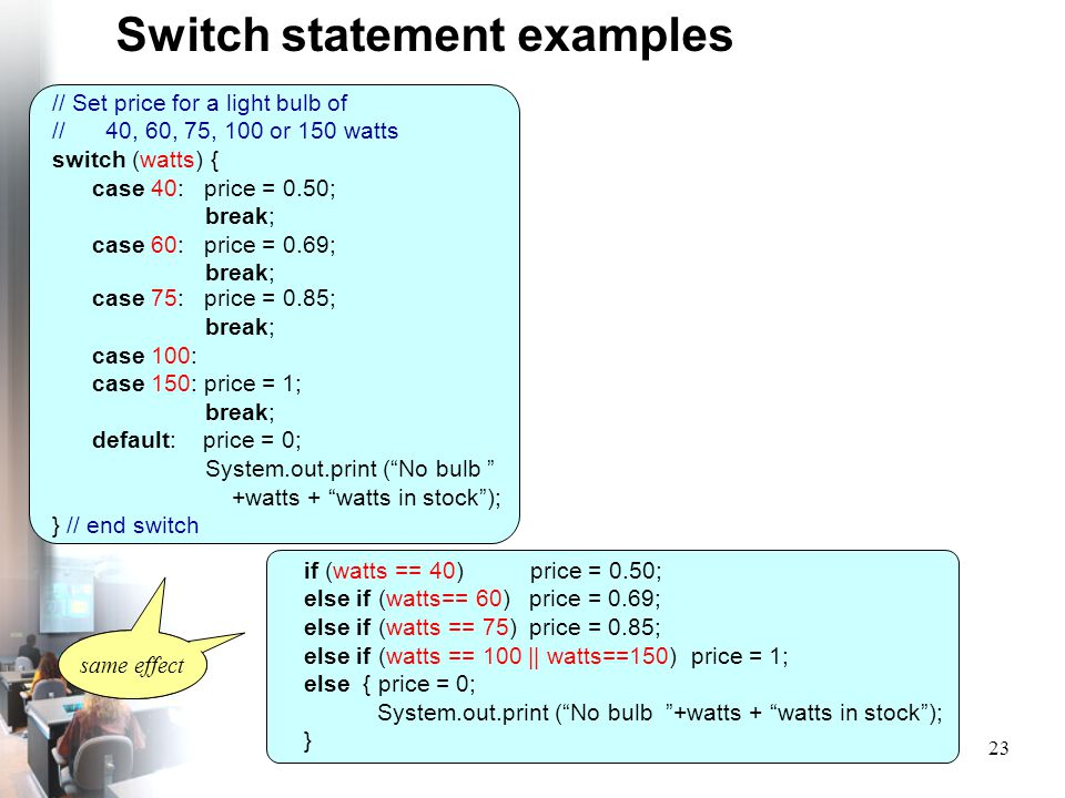 Switch statement examples