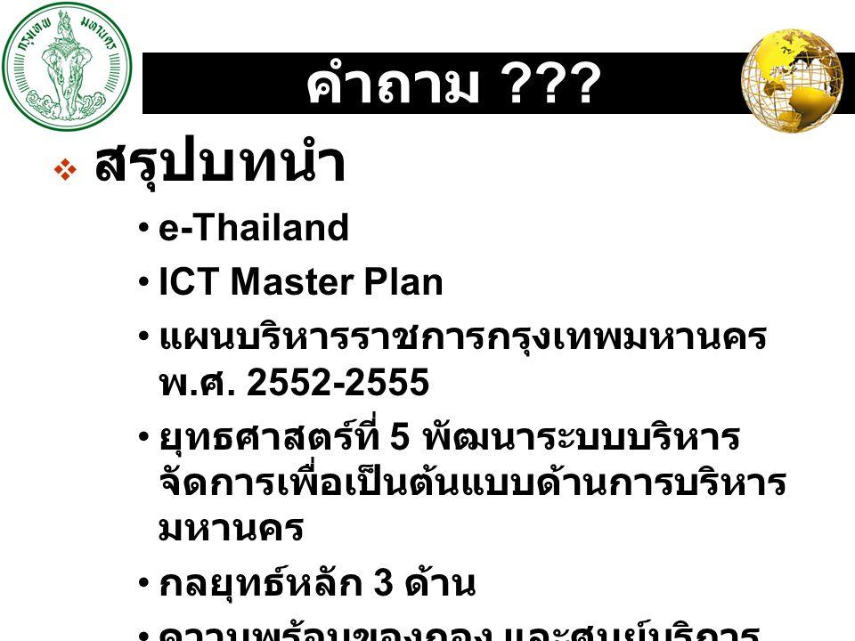 คำถาม e-Thailand ICT Master Plan