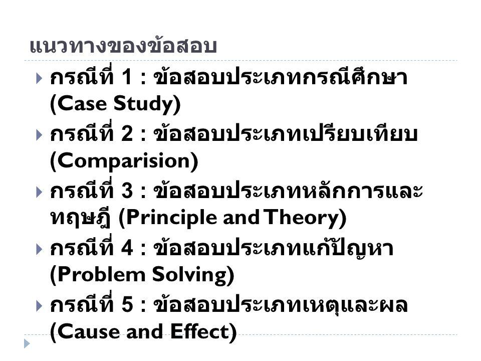 กรณีที่ 1 : ข้อสอบประเภทกรณีศึกษา (Case Study)