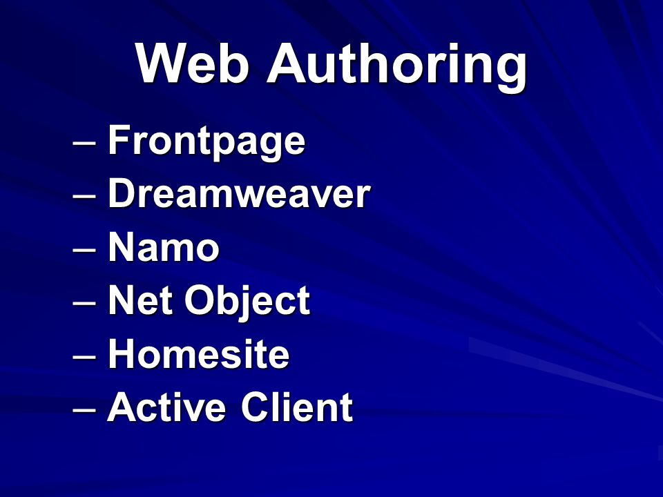 Web Authoring Frontpage Dreamweaver Namo Net Object Homesite