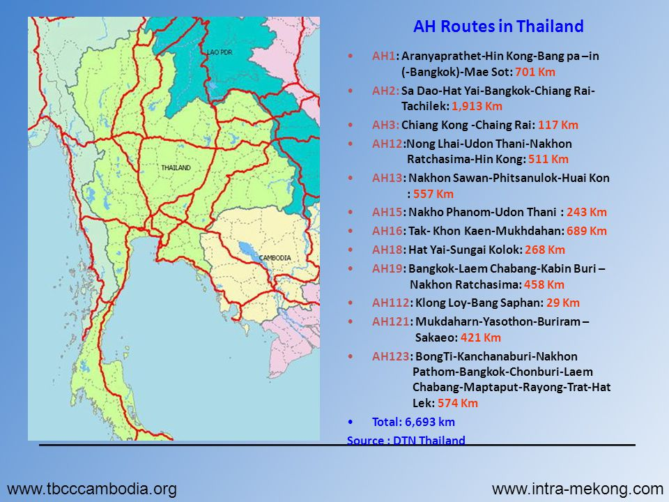 AH Routes in Thailand www.tbcccambodia.org www.intra-mekong.com