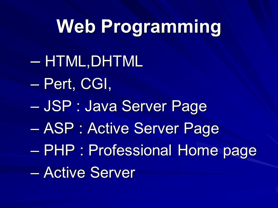 Web Programming HTML,DHTML Pert, CGI, JSP : Java Server Page