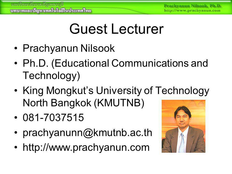 Guest Lecturer Prachyanun Nilsook