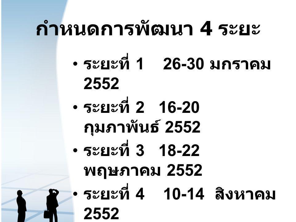 กำหนดการพัฒนา 4 ระยะ ระยะที่ 1 26-30 มกราคม 2552