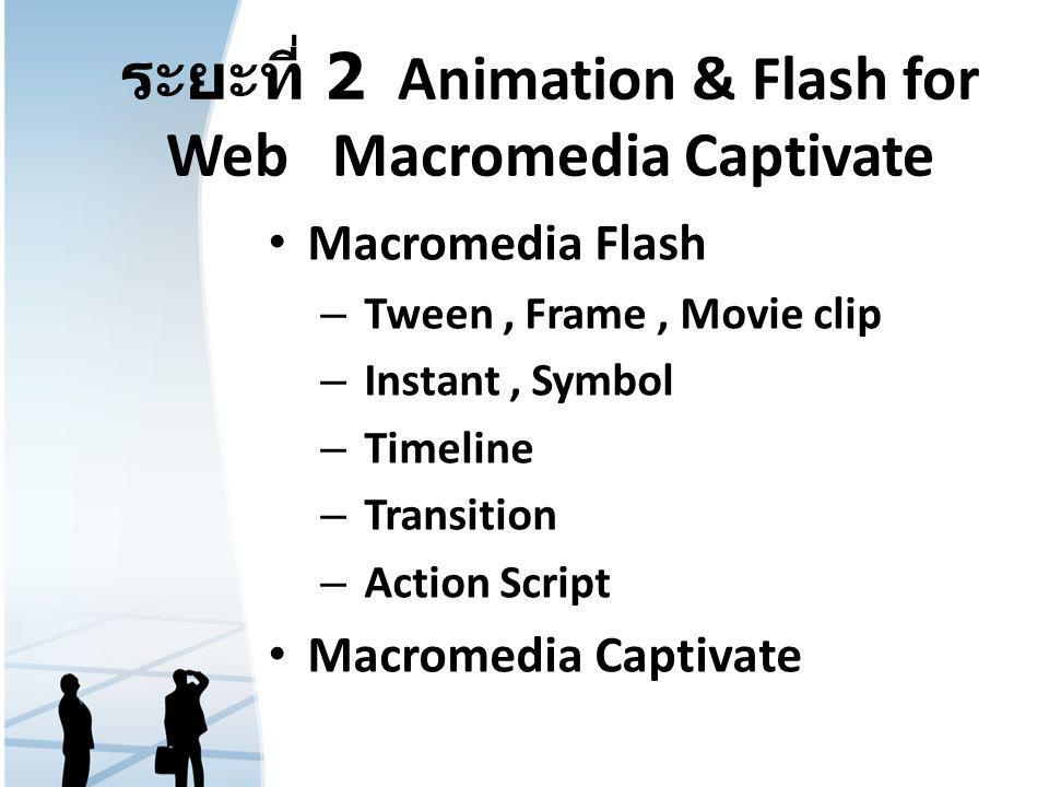 ระยะที่ 2 Animation & Flash for Web Macromedia Captivate