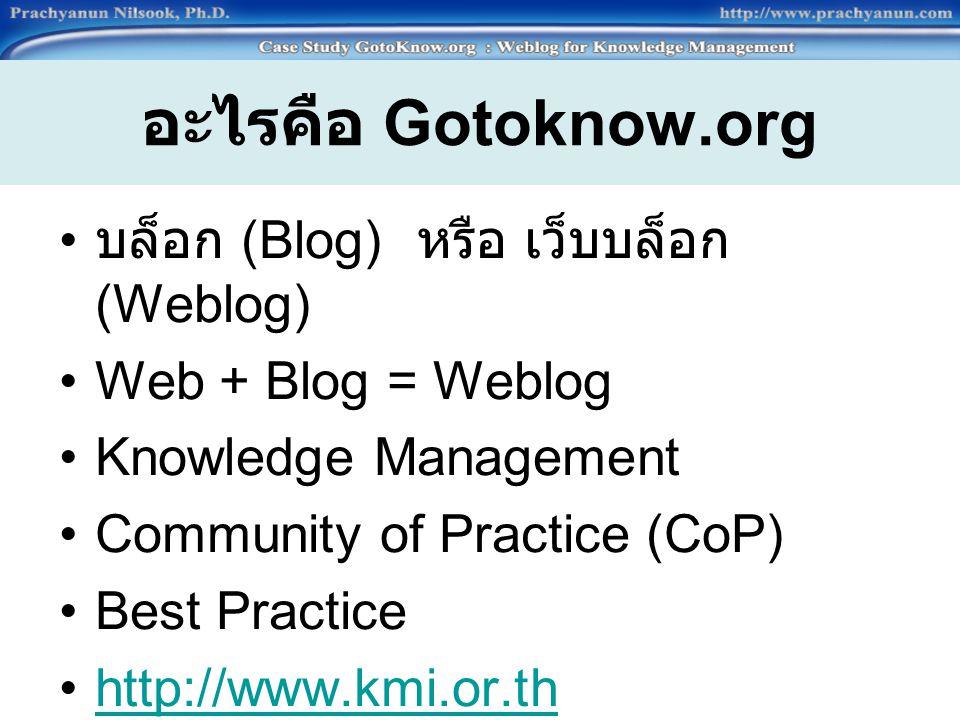 อะไรคือ Gotoknow.org บล็อก (Blog) หรือ เว็บบล็อก (Weblog)