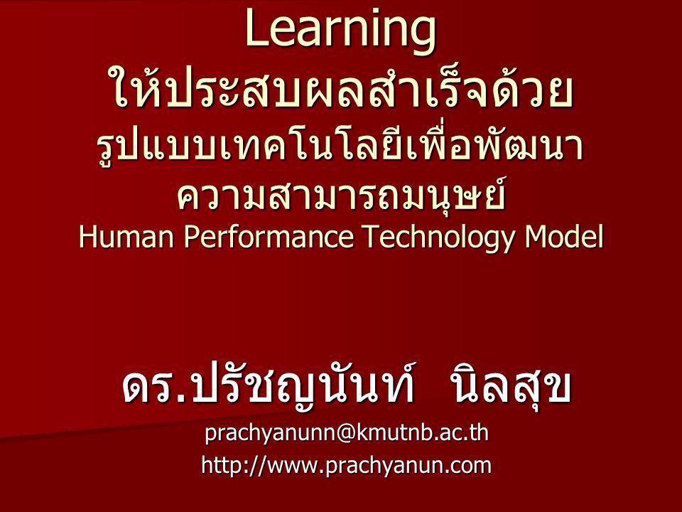 แนวทางการพัฒนา e-Learning ให้ประสบผลสำเร็จด้วย รูปแบบเทคโนโลยีเพื่อพัฒนาความสามารถมนุษย์ Human Performance Technology Model