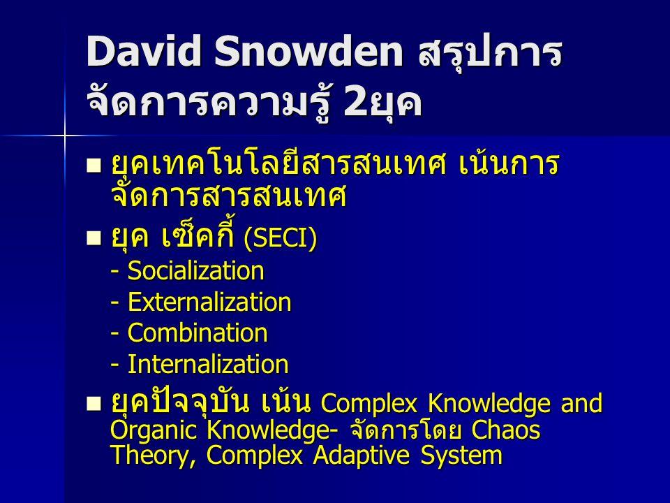 David Snowden สรุปการจัดการความรู้ 2ยุค