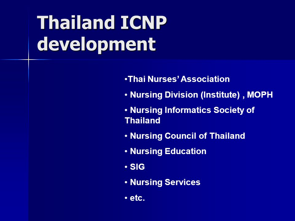 Thailand ICNP development