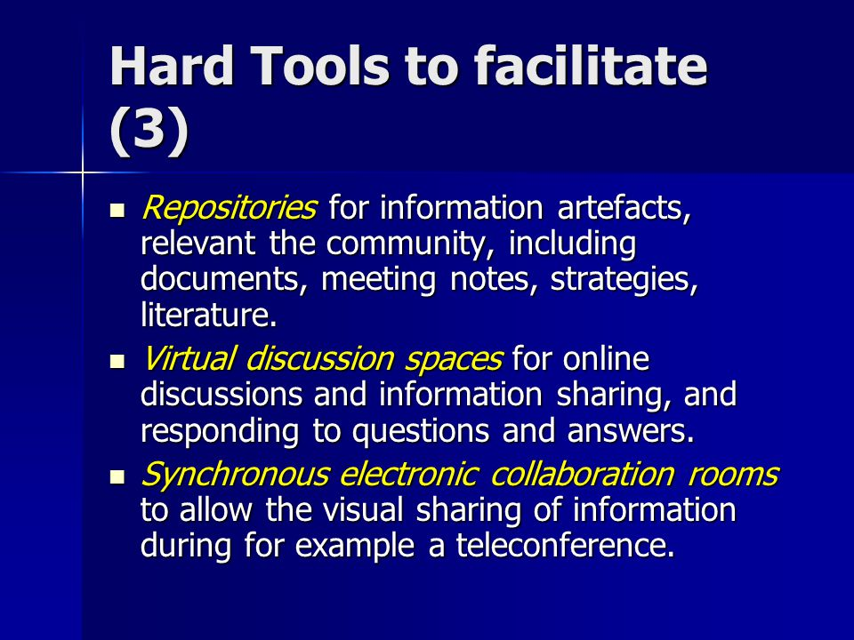 Hard Tools to facilitate (3)