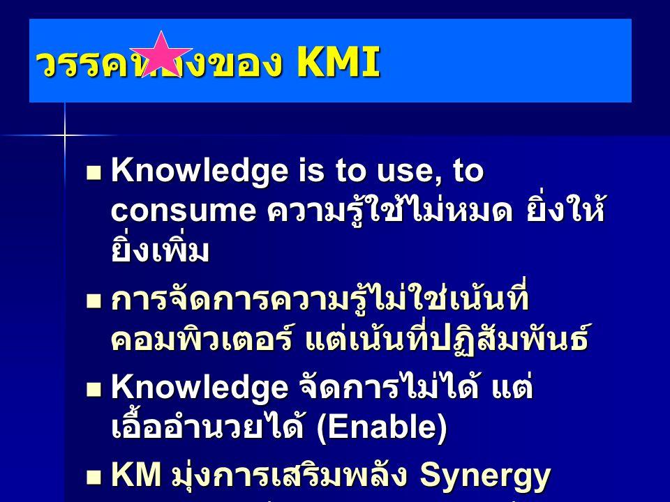 วรรคทองของ KMI Knowledge is to use, to consume ความรู้ใช้ไม่หมด ยิ่งให้ยิ่งเพิ่ม. การจัดการความรู้ไม่ใช่เน้นที่คอมพิวเตอร์ แต่เน้นที่ปฏิสัมพันธ์