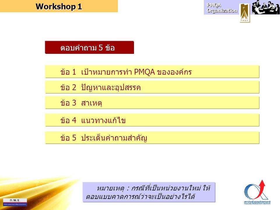 ข้อ 1 เป้าหมายการทำ PMQA ขององค์กร