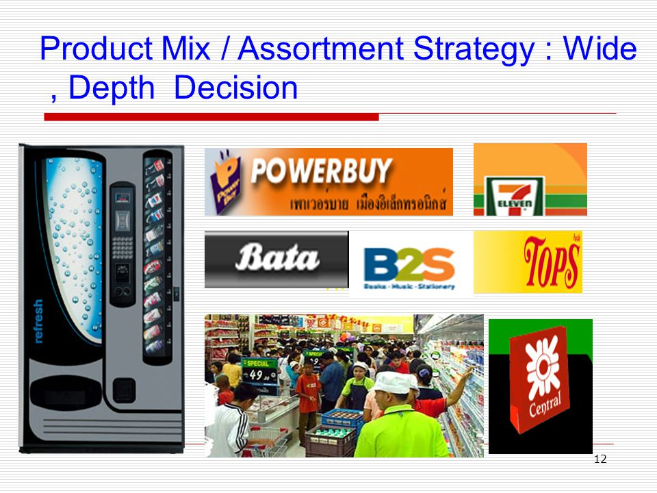 Product Mix / Assortment Strategy : Wide , Depth Decision