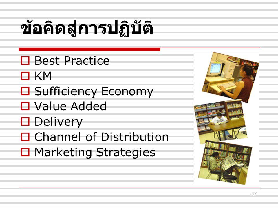 ข้อคิดสู่การปฏิบัติ Best Practice KM Sufficiency Economy Value Added