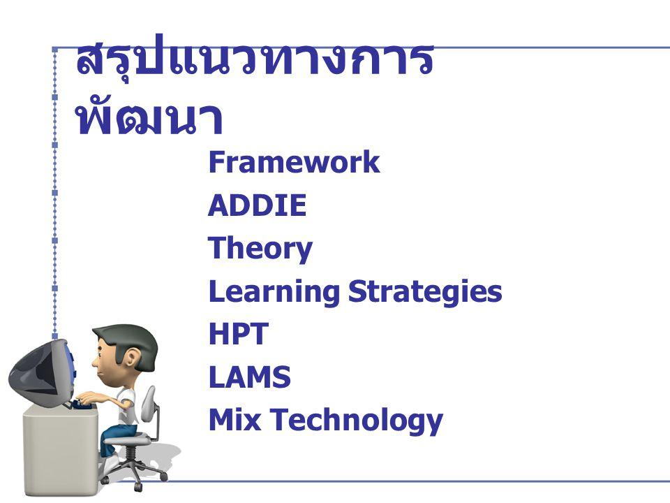 สรุปแนวทางการพัฒนา Framework ADDIE Theory Learning Strategies HPT LAMS