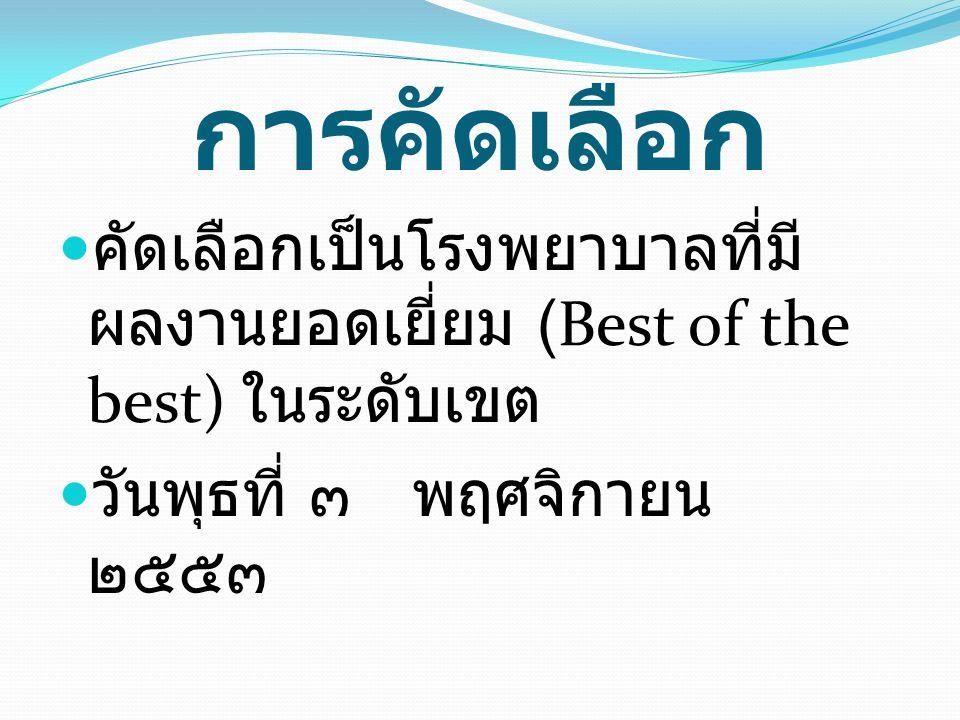 การคัดเลือก คัดเลือกเป็นโรงพยาบาลที่มีผลงานยอดเยี่ยม (Best of the best) ในระดับเขต.