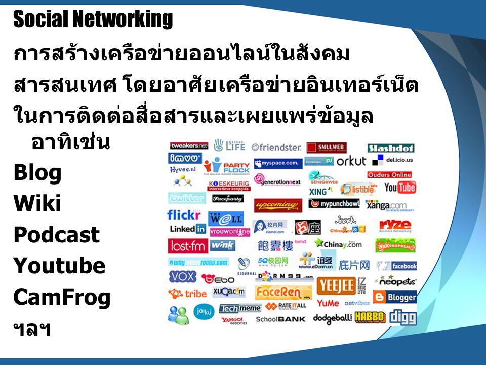 Social Networking การสร้างเครือข่ายออนไลน์ในสังคม. สารสนเทศ โดยอาศัยเครือข่ายอินเทอร์เน็ต. ในการติดต่อสื่อสารและเผยแพร่ข้อมูล อาทิเช่น.