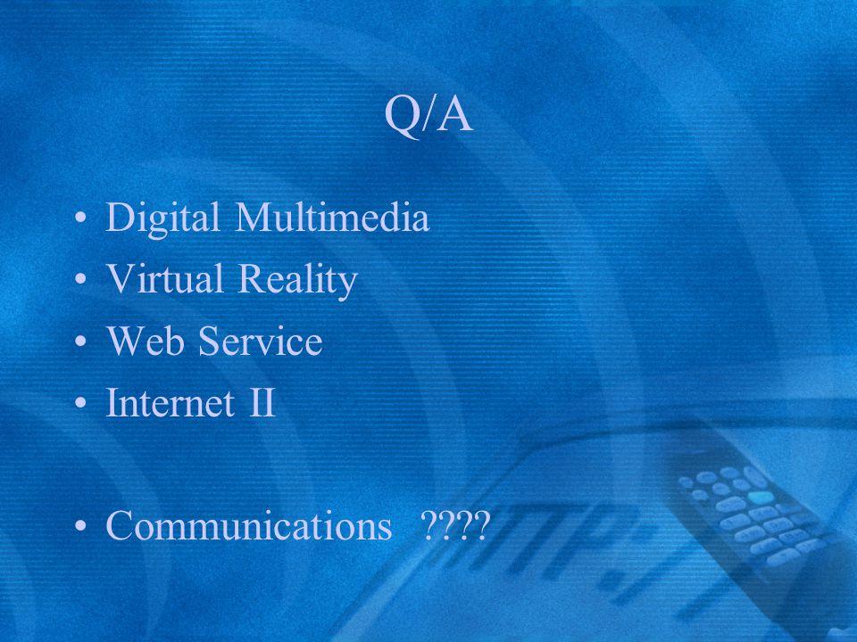 Q/A Digital Multimedia Virtual Reality Web Service Internet II