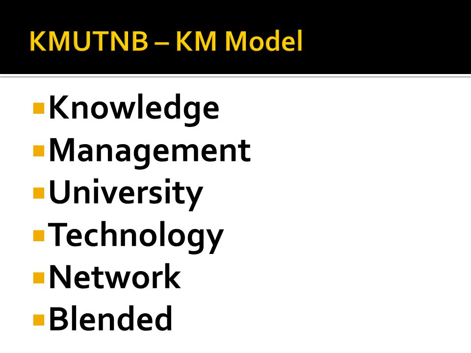 Knowledge Management University Technology Network Blended