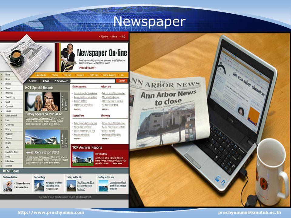 Newspaper http://www.prachyanun.com prachyanunn@kmutnb.ac.th