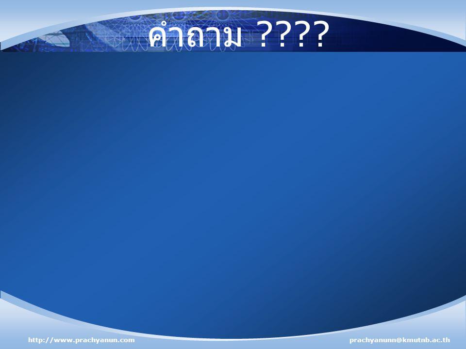คำถาม http://www.prachyanun.com prachyanunn@kmutnb.ac.th