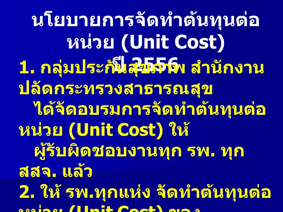 นโยบายการจัดทำต้นทุนต่อหน่วย (Unit Cost) ปี 2556