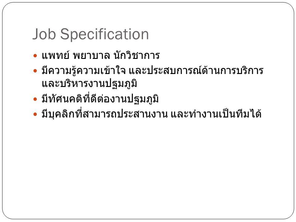 Job Specification แพทย์ พยาบาล นักวิชาการ