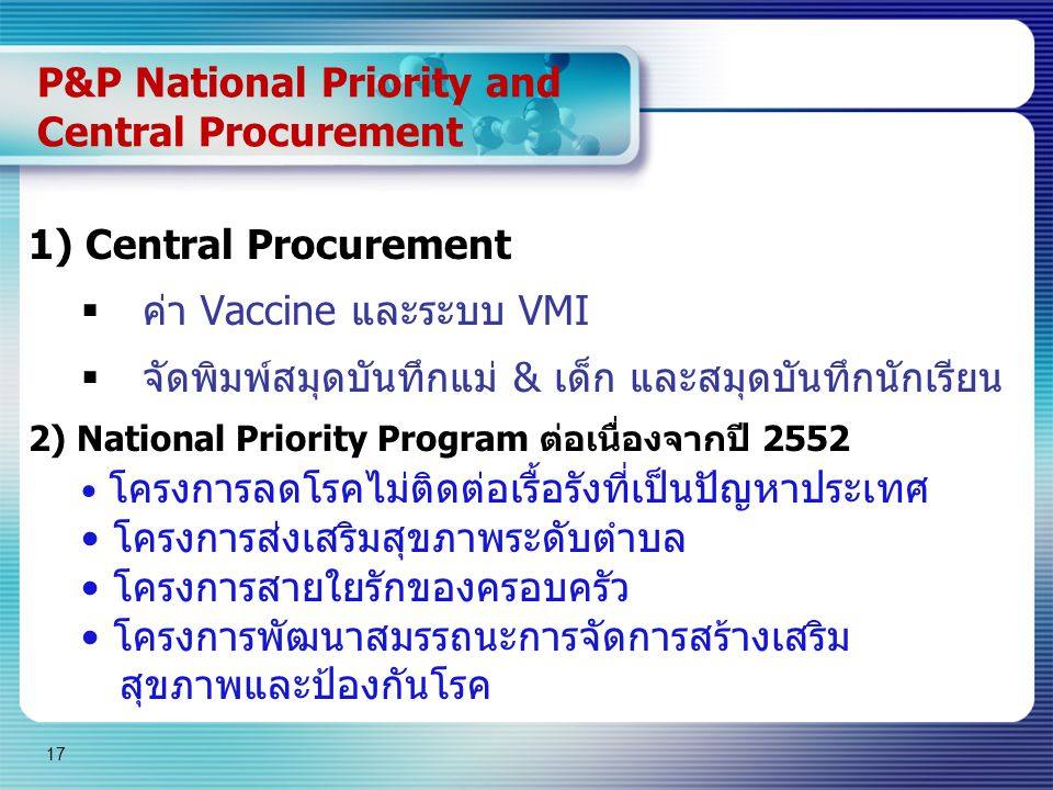 P&P National Priority and Central Procurement