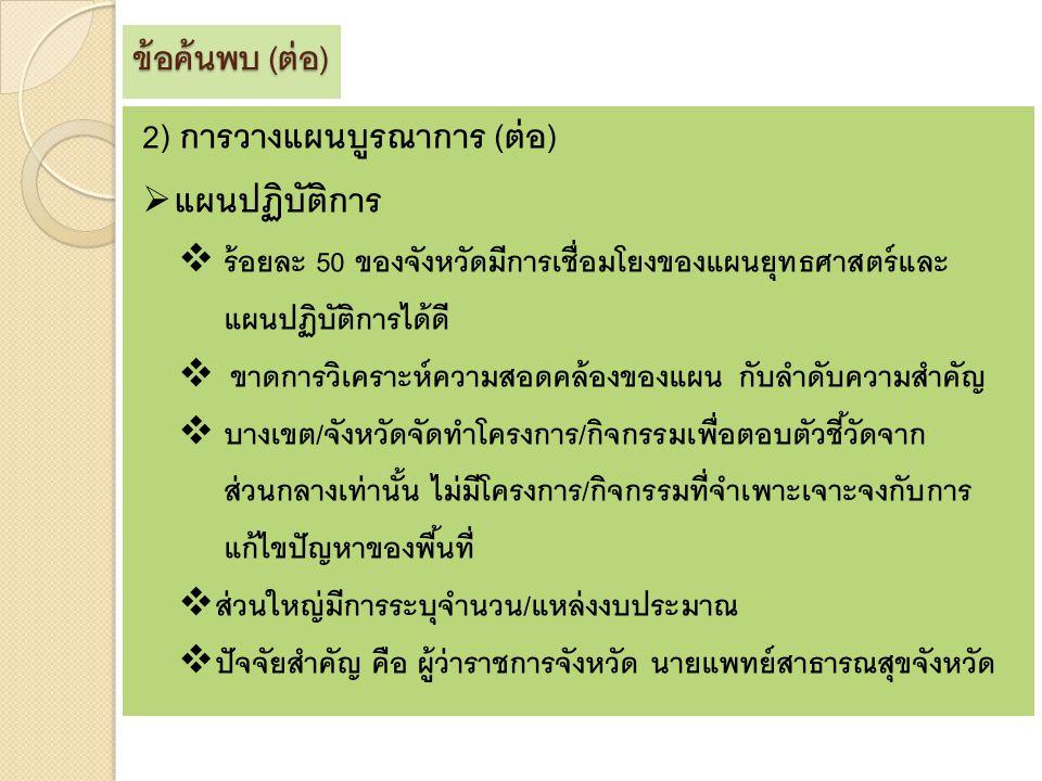 2) การวางแผนบูรณาการ (ต่อ) แผนปฏิบัติการ