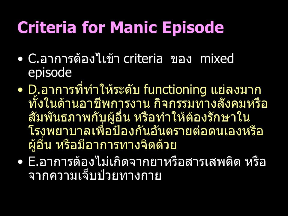 Criteria for Manic Episode