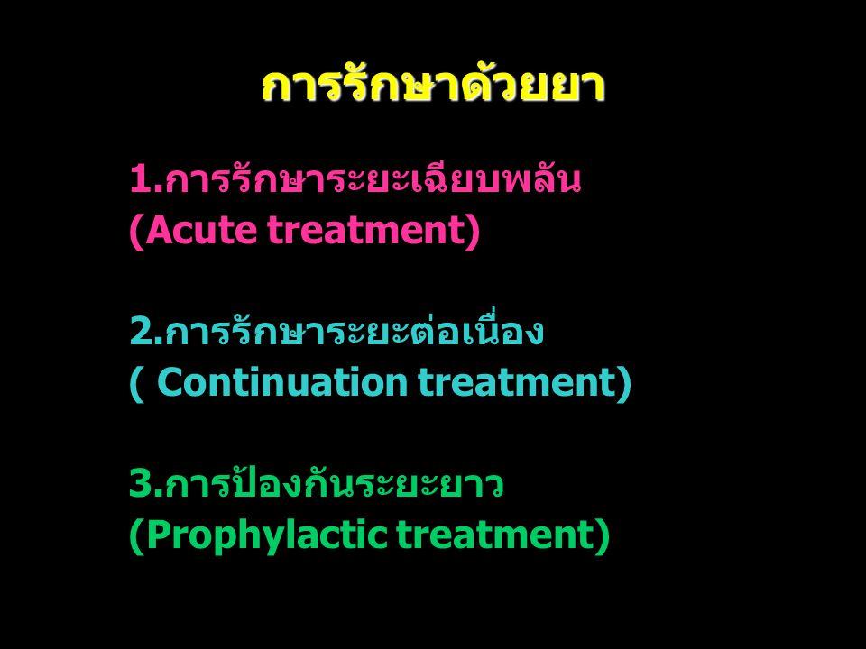 การรักษาด้วยยา 1.การรักษาระยะเฉียบพลัน (Acute treatment)