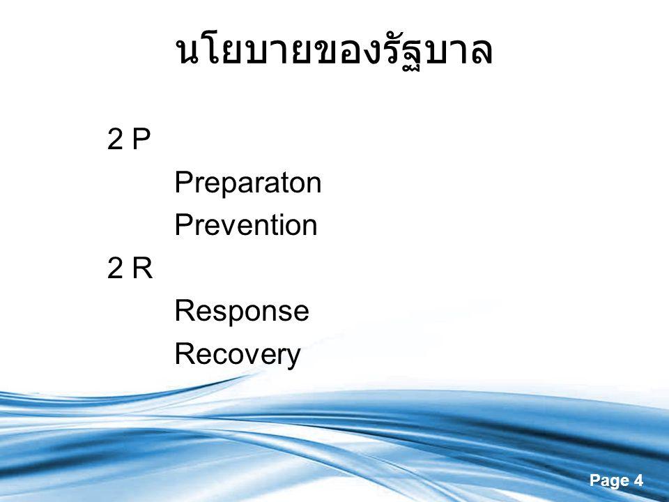 นโยบายของรัฐบาล 2 P Preparaton Prevention 2 R Response Recovery