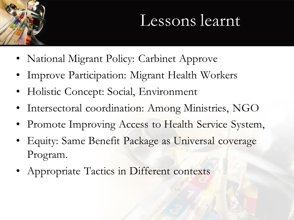 Lessons learnt National Migrant Policy: Carbinet Approve