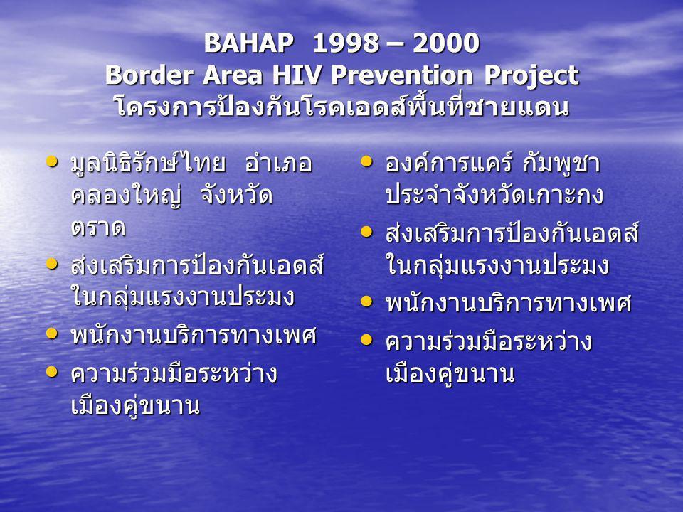 BAHAP 1998 – 2000 Border Area HIV Prevention Project โครงการป้องกันโรคเอดส์พื้นที่ชายแดน