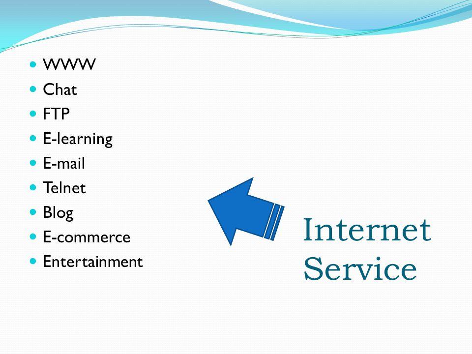 Internet Service WWW Chat FTP E-learning E-mail Telnet Blog E-commerce