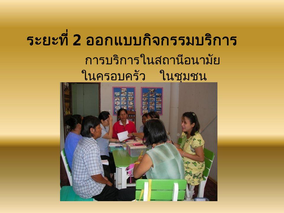ระยะที่ 2 ออกแบบกิจกรรมบริการ การบริการในสถานีอนามัย