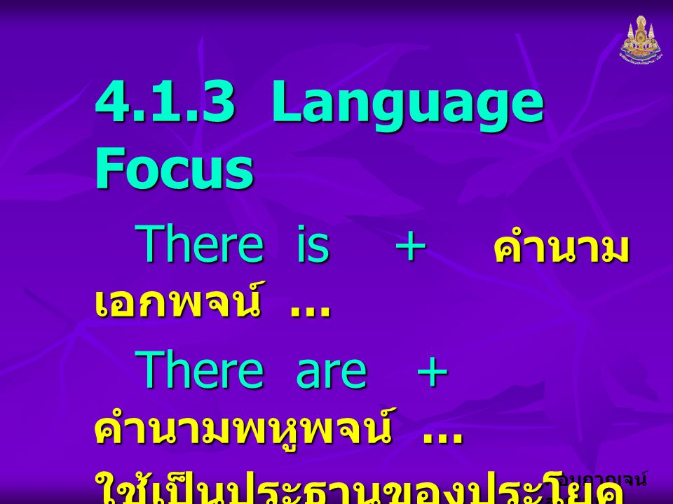4.1.3 Language Focus There is + คำนามเอกพจน์ …