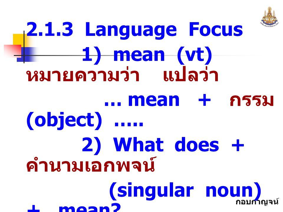 2.1.3 Language Focus 1) mean (vt) หมายความว่า แปลว่า. … mean + กรรม (object) ….. 2) What does + คำนามเอกพจน์
