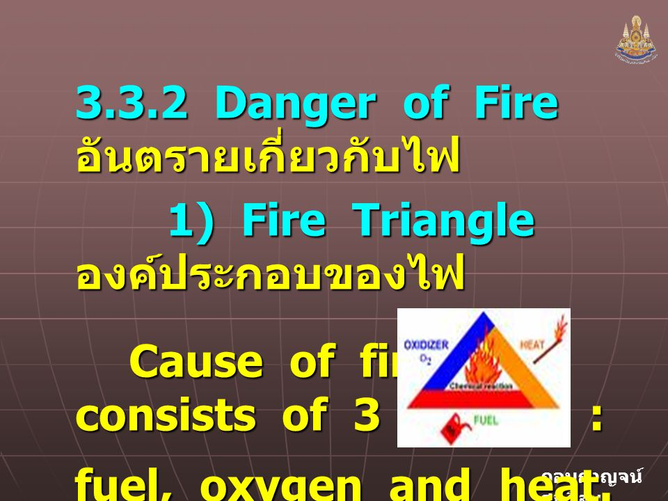 3.3.2 Danger of Fire อันตรายเกี่ยวกับไฟ
