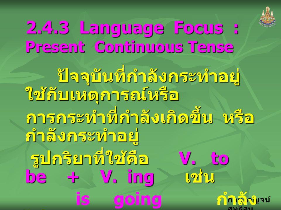 2.4.3 Language Focus : Present Continuous Tense