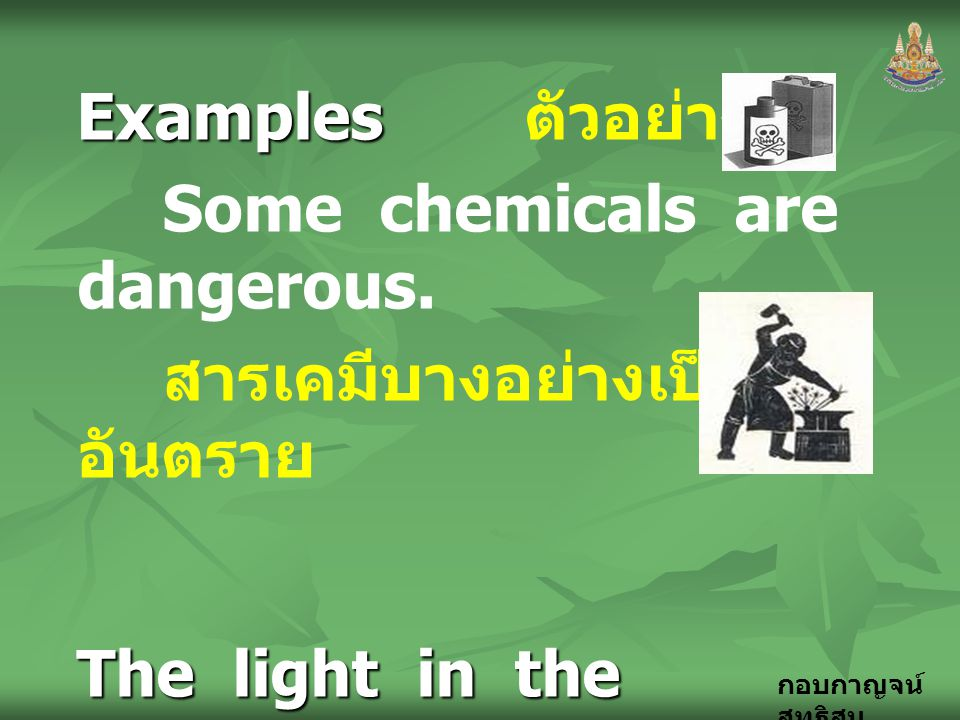 Examples ตัวอย่าง Some chemicals are dangerous. สารเคมีบางอย่างเป็นอันตราย. The light in the workshop is too dark.