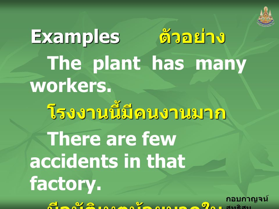 Examples ตัวอย่าง The plant has many workers. โรงงานนี้มีคนงานมาก. There are few accidents in that factory.