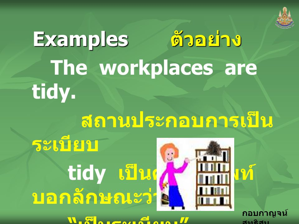 Examples ตัวอย่าง The workplaces are tidy. สถานประกอบการเป็นระเบียบ. tidy เป็นคำคุณศัพท์ บอกลักษณะว่า.