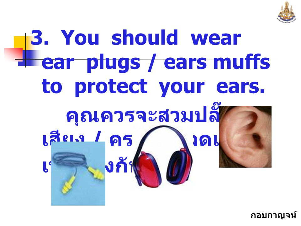 3. You should wear ear plugs / ears muffs to protect your ears.