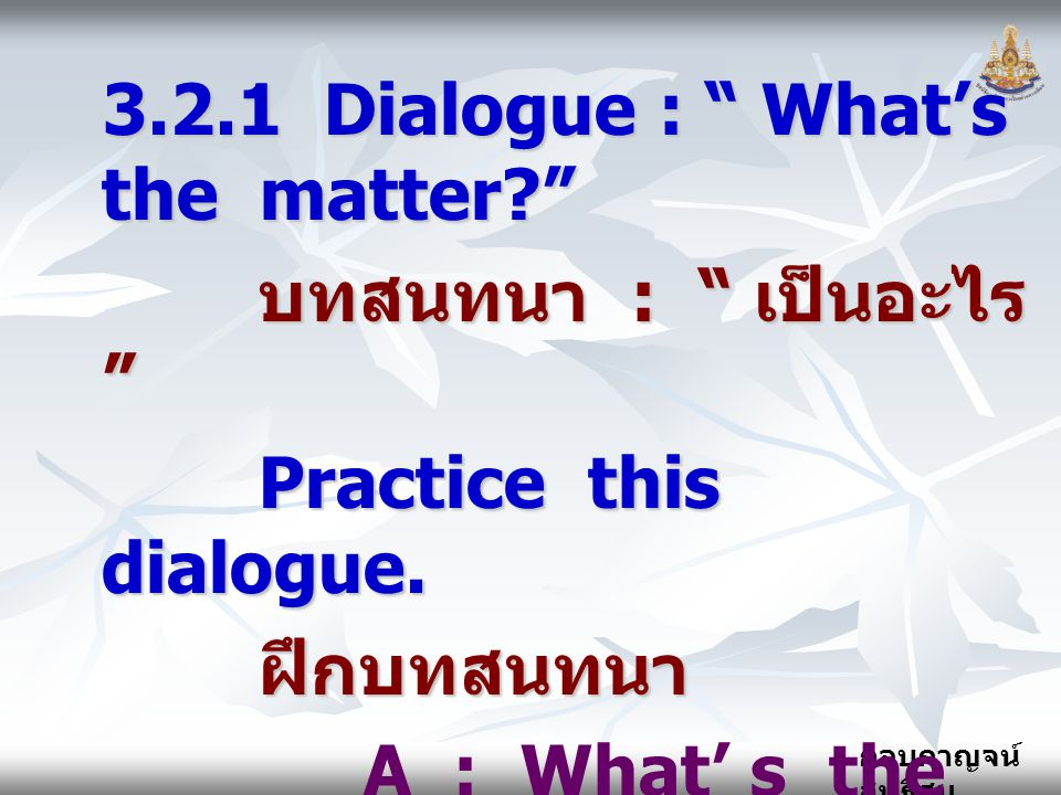3.2.1 Dialogue : What's the matter