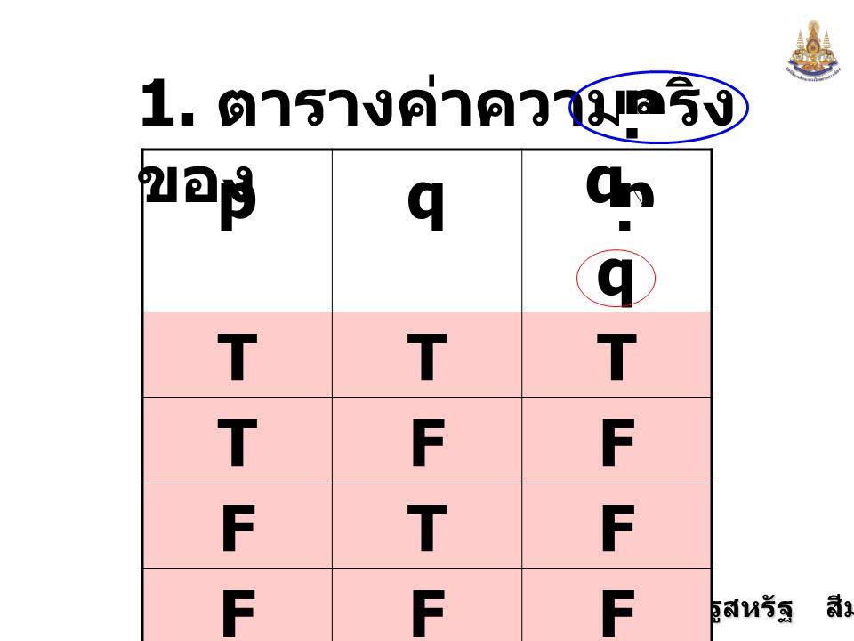 1. ตารางค่าความจริงของ p q p q p q T F