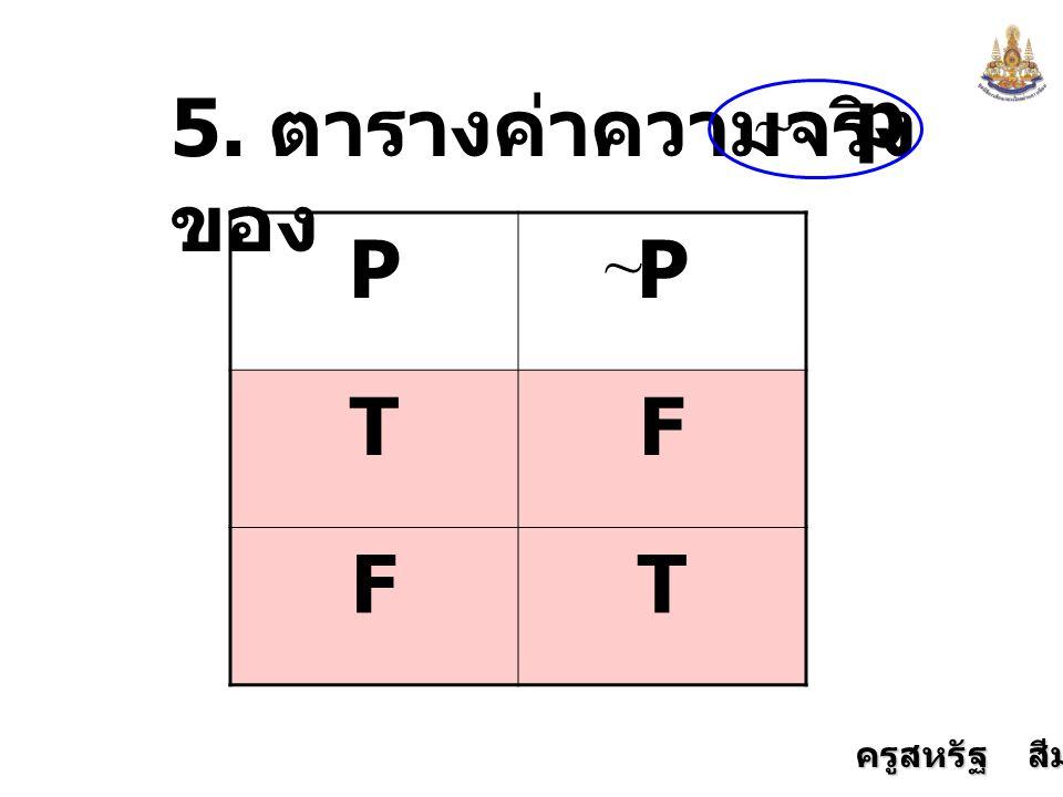 p 5. ตารางค่าความจริงของ ~ P T F ~