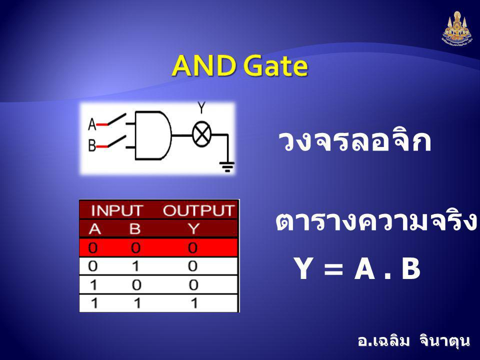 AND Gate วงจรลอจิก ตารางความจริง Y = A . B