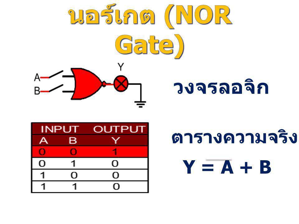 นอร์เกต (NOR Gate) วงจรลอจิก ตารางความจริง Y = A + B