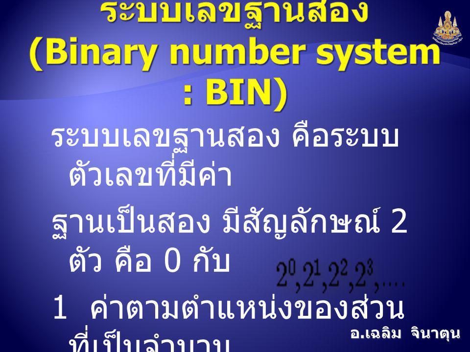 ระบบเลขฐานสอง (Binary number system : BIN)